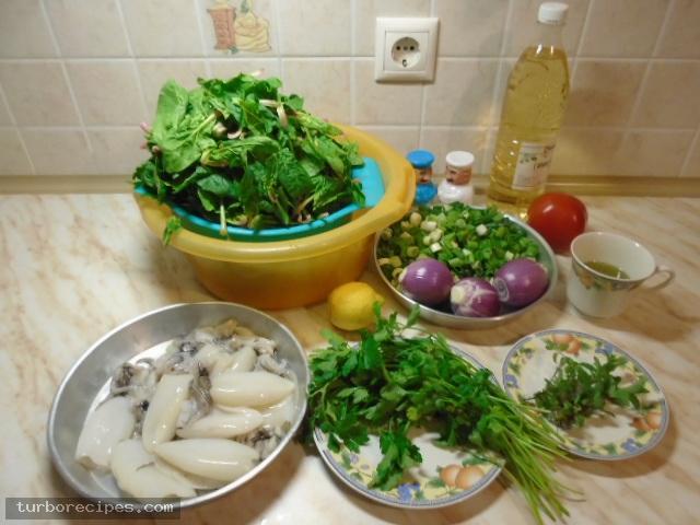 Σουπιές με σπανάκι - Υλικά συνταγής