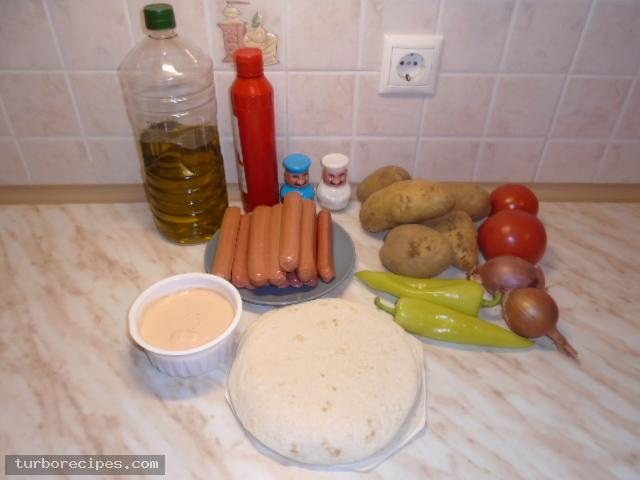 Τυλιχτά με μεξικάνικες τορτίγιες και λουκάνικα Φρανκφούρτης - Υλικά συνταγής
