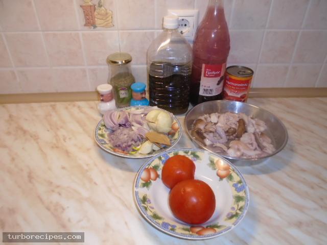 Χταπόδι στιφάδο - Υλικά συνταγής