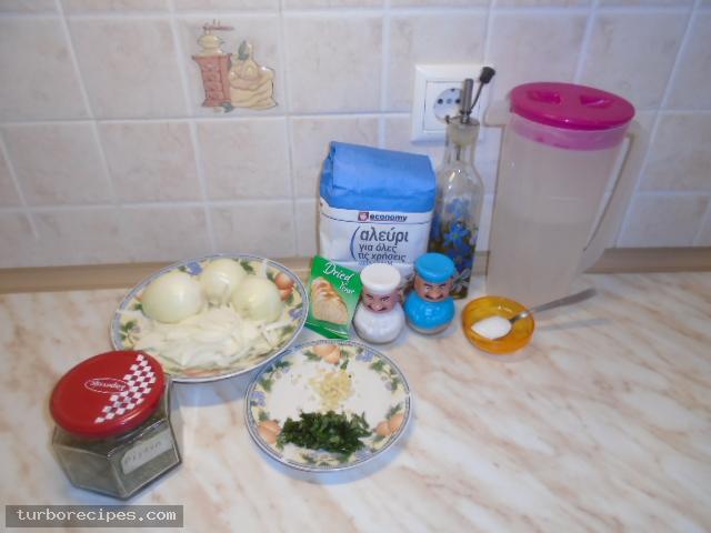 Κρεμμυδόψωμο - Υλικά συνταγής