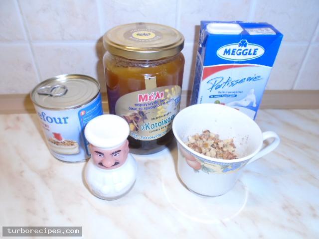 Παγωτό μέλι με καρύδια - Υλικά συνταγής