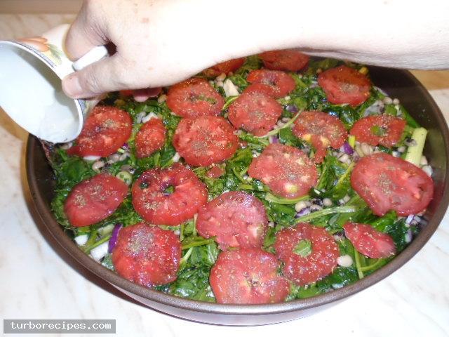 Μαυρομάτικα φασόλια με σπανάκι στο φούρνο - Βήμα 16