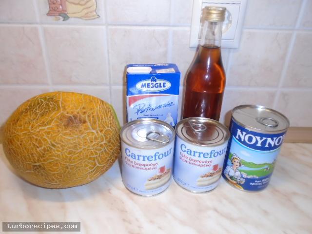 Παγωτό πεπόνι χωρίς παγωτομηχανή - Υλικά συνταγής