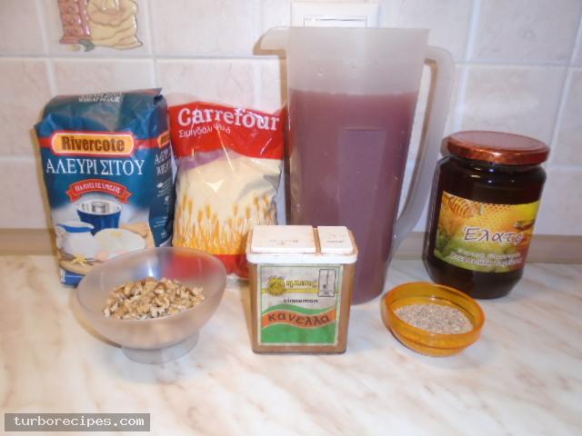Σπιτική μουσταλευριά - Υλικά συνταγής