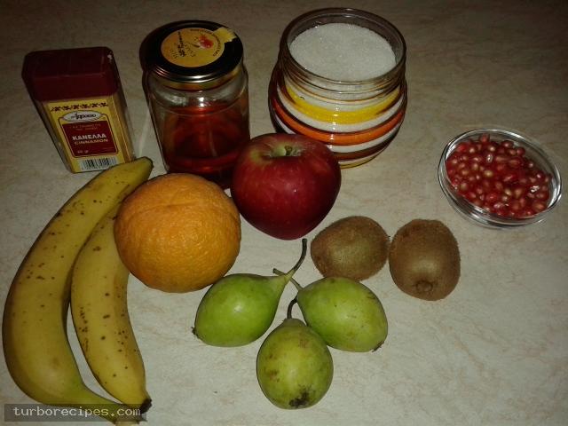 Φρουτοσαλάτα με λίγα φρούτα - Υλικά συνταγής