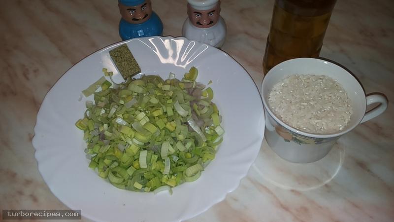 Πρασόρυζο σπυρωτό - Υλικά συνταγής