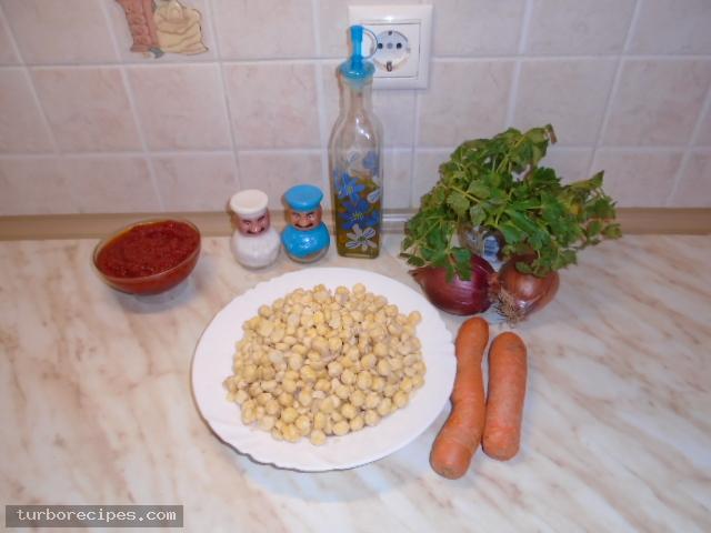 Ρεβύθια με ντομάτα - Υλικά συνταγής