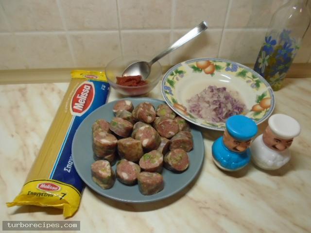 Χωριάτικο λουκάνικο με μακαρόνια - Βήμα 1